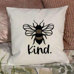 "Handmade 100% Cotton Cushion Cover with slogan ""Bee Kind"""