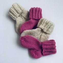 (pink) Knitted baby's socks, 100% natural sheep wool socks, first baby socks