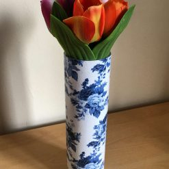 Blue and White Floral Glass Vase