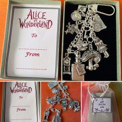 Alice In Wonderland Disney Inspired Key Ring Bag Charm Gift Keepsake Boxed Cat Cup Rabbit Drink Me Bottle Mushroom Cupcake