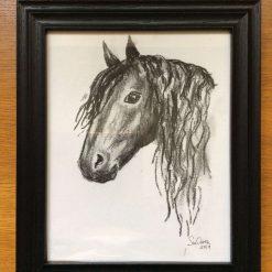 """Black horse"", framed charcoal drawing"