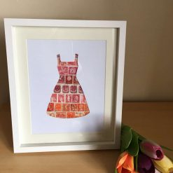 Postage Stamp Orange & Red Dress