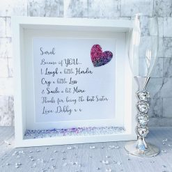 Because of You Gift, Friend Deep Box Frame, Frame for Friend, Friendship Birthday Gift