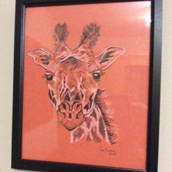 """Orange giraffe"", ink drawing on coloured card , painting"