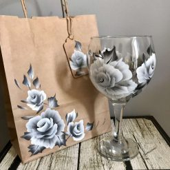 Gin Glasses Gin Glass - The Silver Rose-Hand Painted