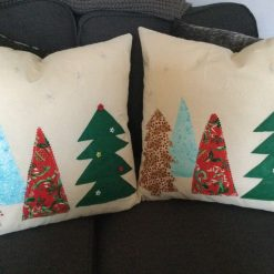 """Christmas Cushions Featuring Christmas Trees with pad 18"""" square"""