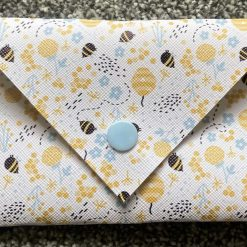 Handmade faux leather glasses case-bee design