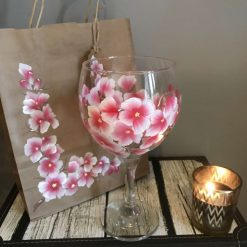 The Cherry Blossom Gin Glass- Hand Painted