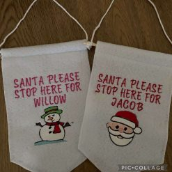 Embroidered Christmas Stop Here Felt Hanging Signs