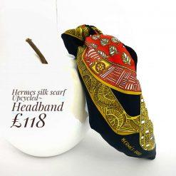 Hermes silk scarf upcycled- headband