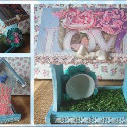 Bird Feeder pink/blue - home décor