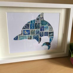 Blue Green Dolphin Postage Stamp Art