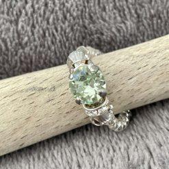 A Swarovski Crystal Ring - Chrysolite and Greige