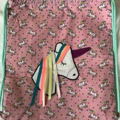 Child's Unicorn Appliqué Drawstring Bag
