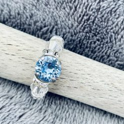 A Swarovski Crystal Ring - Light Sapphire and Crystal Clear