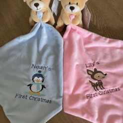 Personalised Embroidered Baby 1st Christmas Comforter Bear