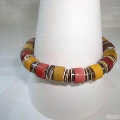 Unisex designed beaded stretchy bracelet - mookaite, lapis & mother of pearl