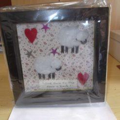 DEEP BOX PICTURE FRAME (GLAZED) - SHEEP THEME - LOVE EWE TO THE MOON & BACK