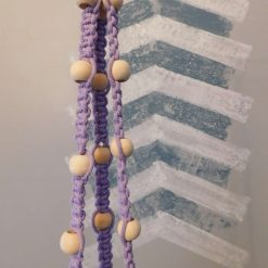 Macrame plant hanger small double. Wooden and glass beads