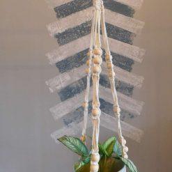 Macrame plant hanger triple beaded