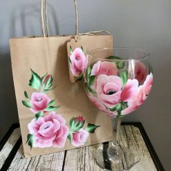 Gin Glasses Gin Glass - The Pink Rose -Hand Painted