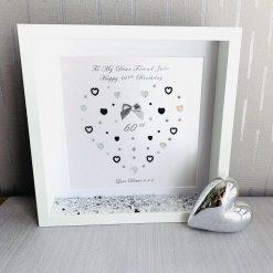 70th Birthday Delicate Heart Frame, Gift for Her, Mum, Sister