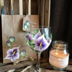 The Purple Orchid Gin Glass- Hand Painted