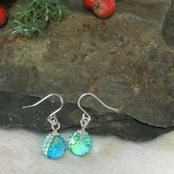 Blue Faceted Glass bead earrings Sterling Silver