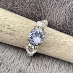 A Swarovski Crystal Ring - Tanzanite and Crystal Clear