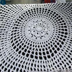 White crochet baby shawl