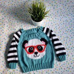 Knitted panda in glasses jumper