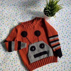 Knitted robot pocket jumper