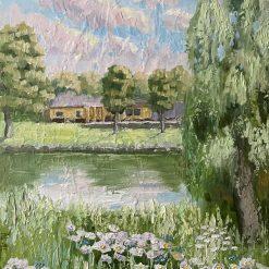 Landscape painting. Daisy field. Mixed media on hardboard.30x40cm