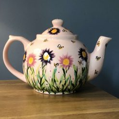 Pale Pink and Purple Floral Busy Bee Teapot, Ceramic Pottery Shop, Gifts for Friends and Family