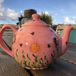 Pretty In Pink and Purple Floral Busy Bee Teapot, Ceramic Pottery Shop, Gifts for Friends and Family