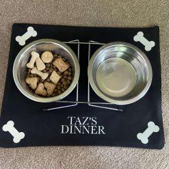 Black Personalised Dog or Cat Bowl Mat