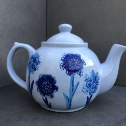 Blue Dandelion Design Teapot, Ceramic Pottery Shop, Gifts for Friends and Family