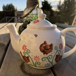 Little Brown Hen, Chicken Design Teapot in White, Ceramic Pottery Shop, Gifts for Friends and Family