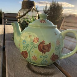 Little Brown Hen, Chicken Design Teapot in Green, Ceramic Pottery Shop, Hand Painted Gifts for Family and Friends