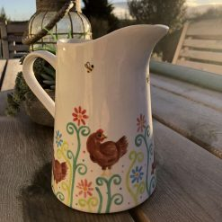 Little Brown Hen, Chickens in the Garden Jug, Medium, Ceramic Pottery Shop, Hand Painted Gifts for Friends and Family
