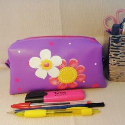 Leatherette pencilcase/Necessaire - flowers