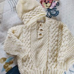 Boys Aran cable sweater and hat