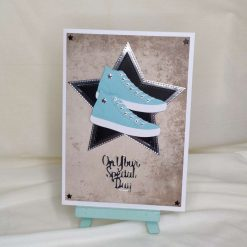 On Your Special Day Greeting Card | Blue Trainer Card With Star Details | Shoe Card