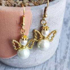 Angel Glass Pearl Beaded Drop Earrings