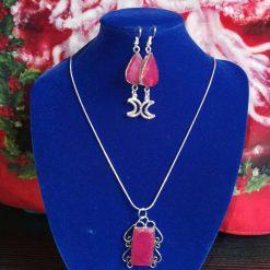Cherry quartz pendant and earrings