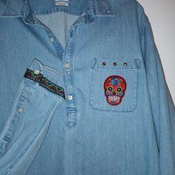 Denim oversized shirt with sugar skull - size large