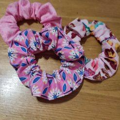 Set of 3 colourful hair scrunchies