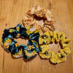 Set of 3 colourful hair scrunchies.