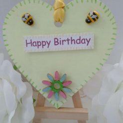 Happy Birthday Pale Yellow Wooden Heart