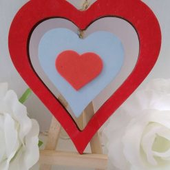 With Love double red and blue Wooden Hanging Heart